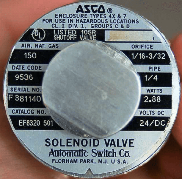 Solenoid Valve nameplate details Specifications