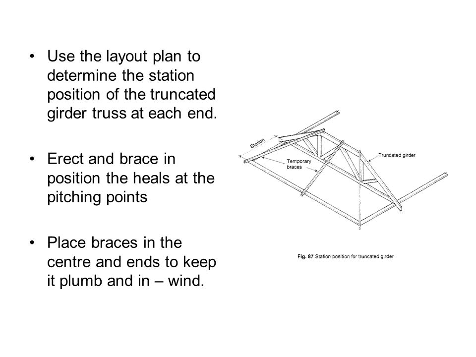 Use the layout plan to determine the station position of the truncated girder truss at each end.