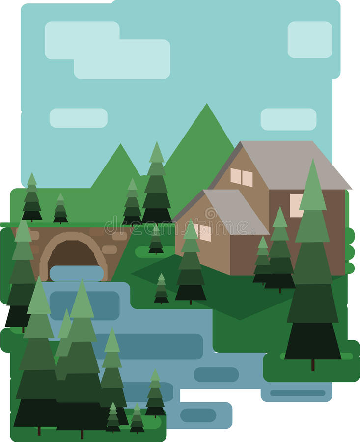 Abstract landscape design with green trees and clouds, a house and a bridge near a lake, flat style. Digital vector image vector illustration