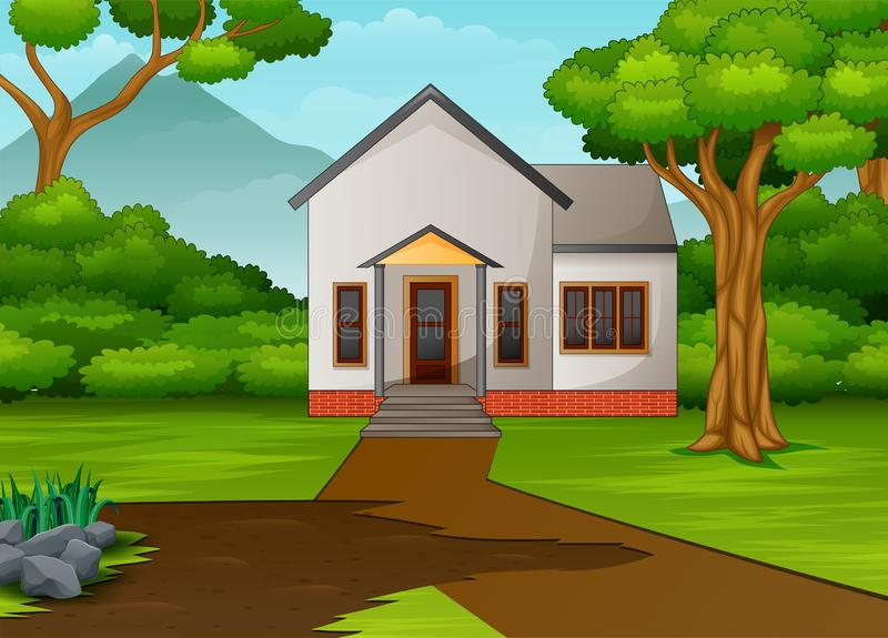 Little house in beautiful landscape with green yard. Illustration of little house in beautiful landscape with green yard stock illustration