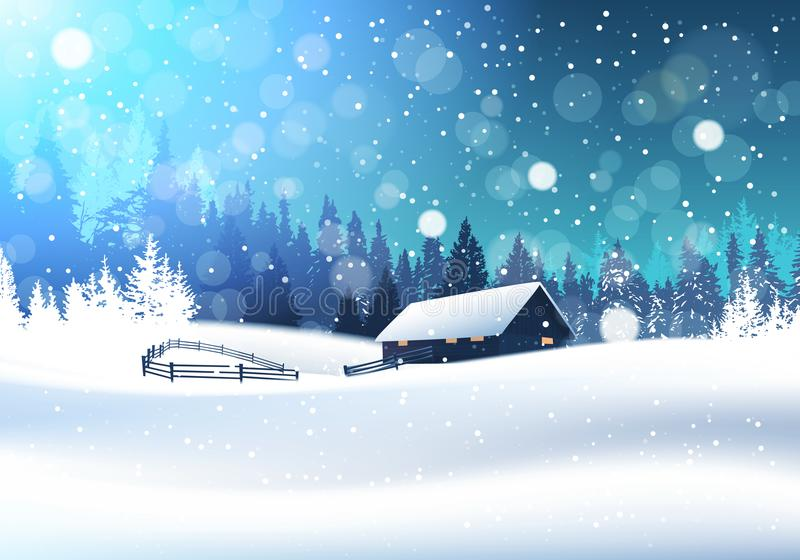 Beautiful Winter Landscape With House In Snowy Forest. Banner Flat Vector Illustration royalty free illustration