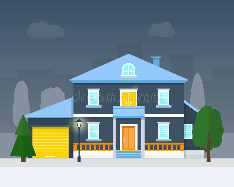 Big house with evening or night landscape. Villa. Flat style vector illustration royalty free illustration