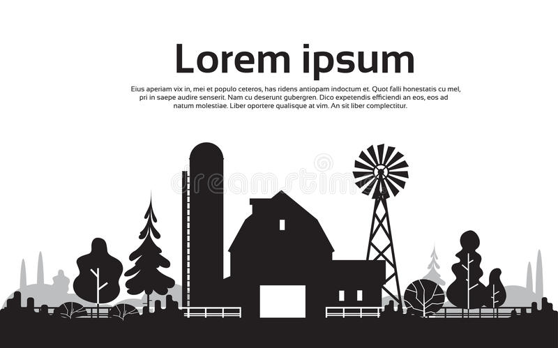 Big Silhouette Farm With House, Farmland Countryside Landscape. Flat Vector Illustration vector illustration