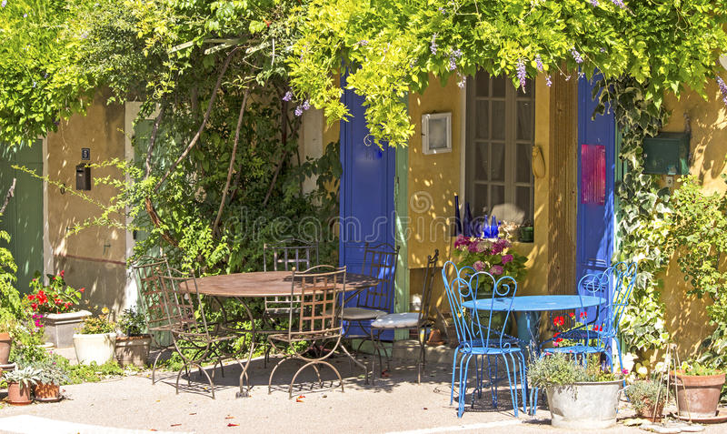 Cafe shop in French village. Provence. French village with sidewalk cafe, from Provence stock photo