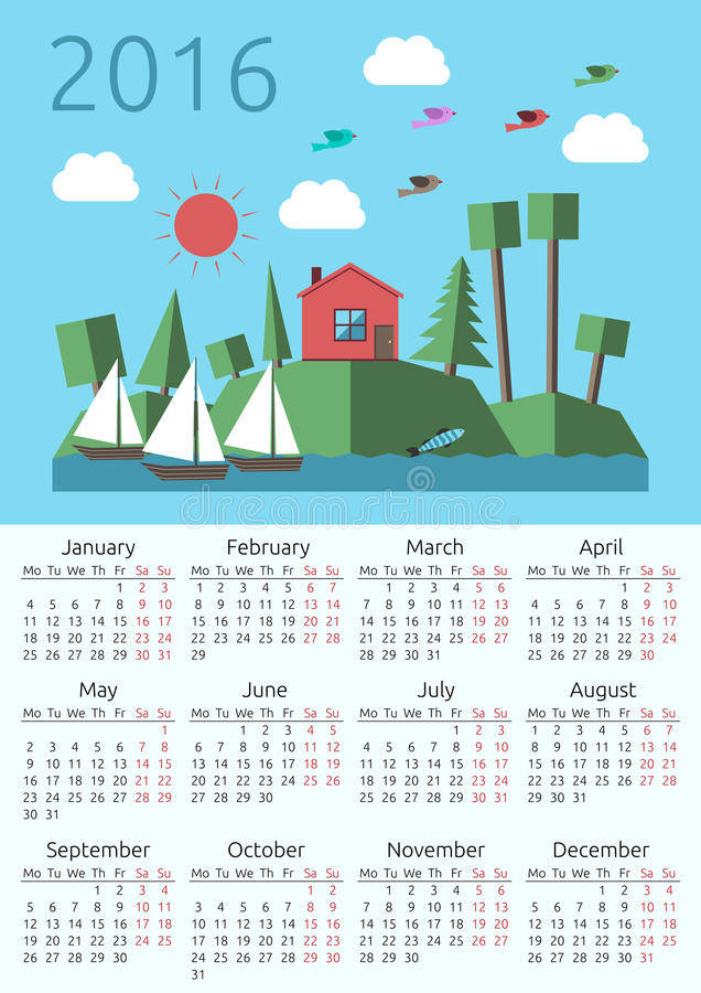 Calendar 2016, house, landscape. 2016 year calendar with house, sun, forest landscape on islands, sailing-boats, birds and fish. Week starts on Monday. Flat vector illustration