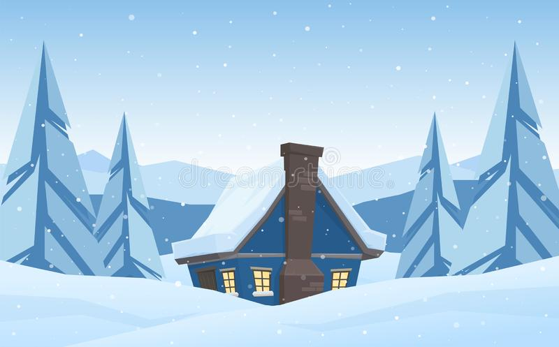 Cartoon cute house on Winter christmas mountains landscape background. Vector illustration: Cartoon cute house on Winter christmas mountains landscape background royalty free illustration