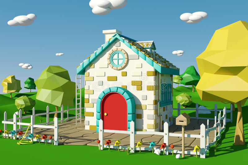 Cartoon house with countryside landscape in spring or summer. 3D rendering royalty free illustration