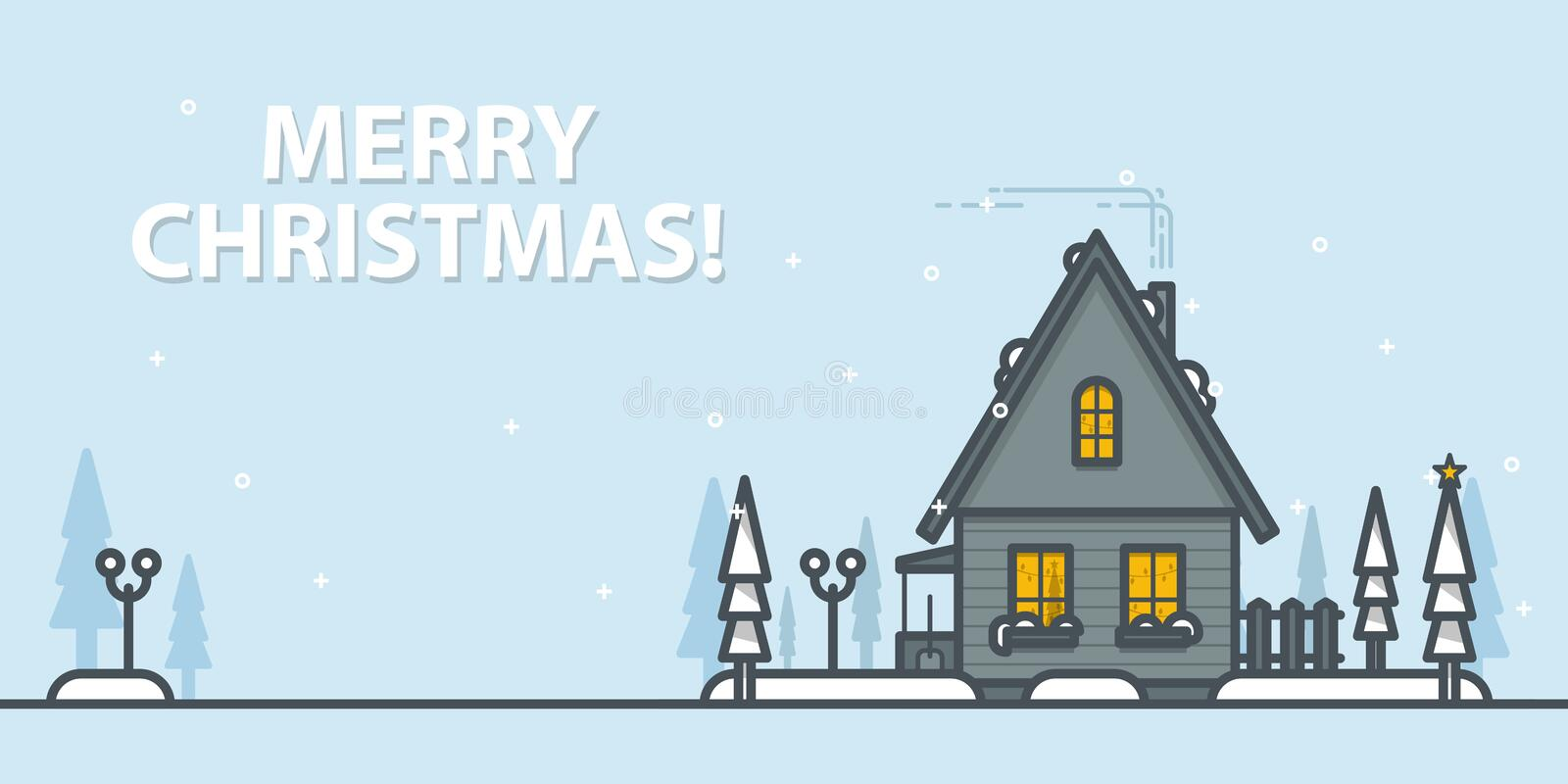 Christmas greeting card. Winter landscape with house on a blue background. Outline vector illustration. Christmas greeting card. Winter landscape with house on vector illustration