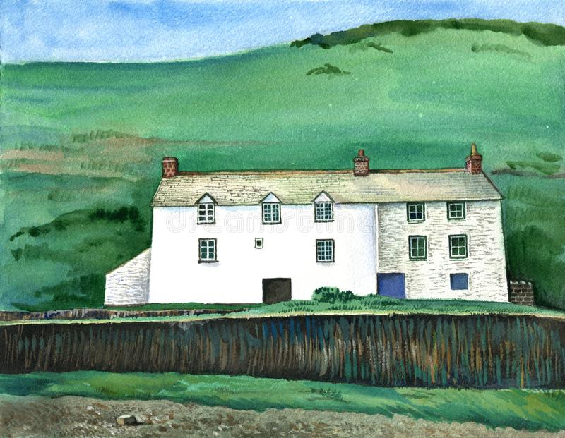 Cornish traditional house, England. Watercolor hand drawn landscape. Touristic view for cards, booklets or other design vector illustration
