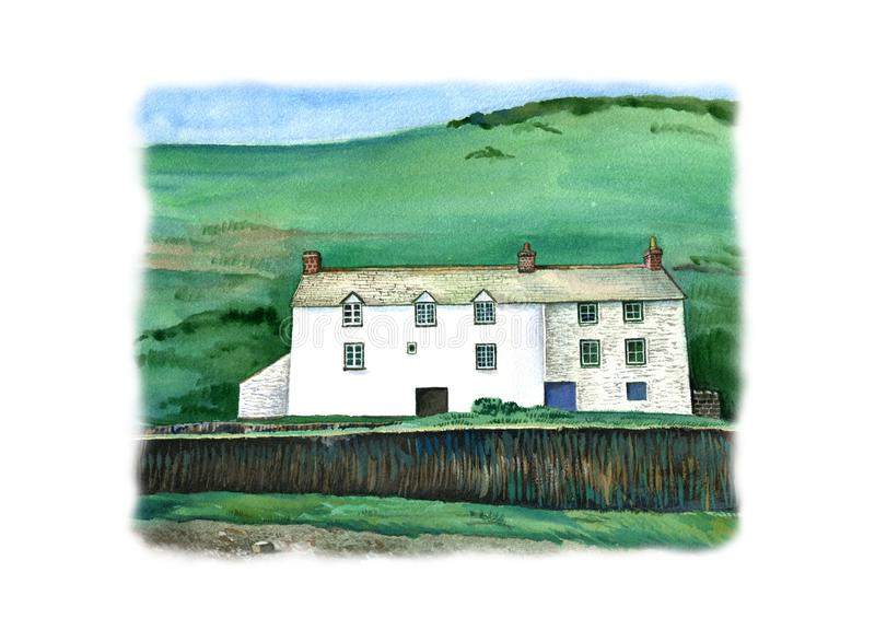 Cornish traditional house, England. Watercolor hand drawn landscape with white frame. Touristic view for cards, booklets or other design stock illustration