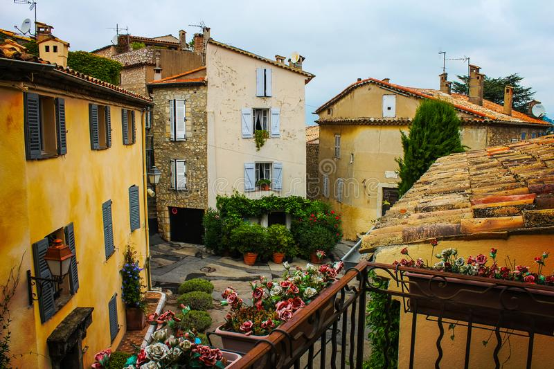 A crossroads seen from a terrace in a typical French provence town. Mougins city in which he spent his last years Pablo Picasso stock image