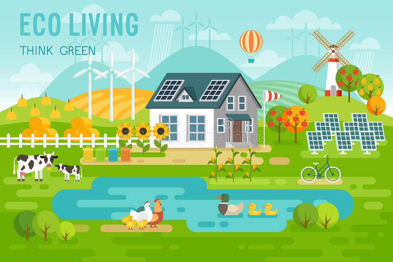 Eco living landscape with eco house and farm animals. Vector illustration stock illustration