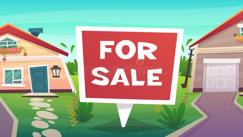 Family house for sale or rent illustration. red cartoon lettering sign. countryside village landscape nature. Family house for sale mortgage or rent illustration stock illustration