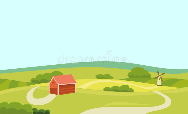 Farm Vector Flat Illustration. Field and House. Agriculture and Fresh Natural Food Concept. Countryside Landscape. Eps 10 stock illustration
