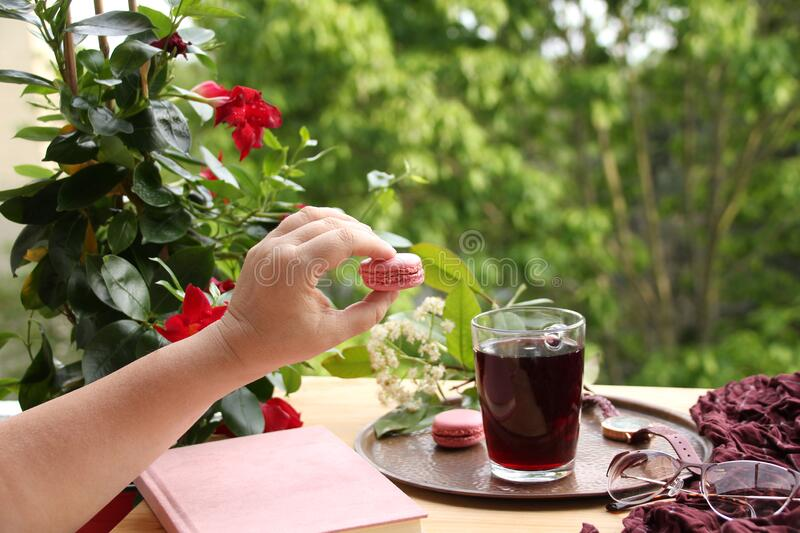 Female hand holds a french pasta cake in the garden, pomegranate, cherry juice, fruit drink in a glass mug, clematis flowers,. Concept lifestyle, breakfast on royalty free stock photography