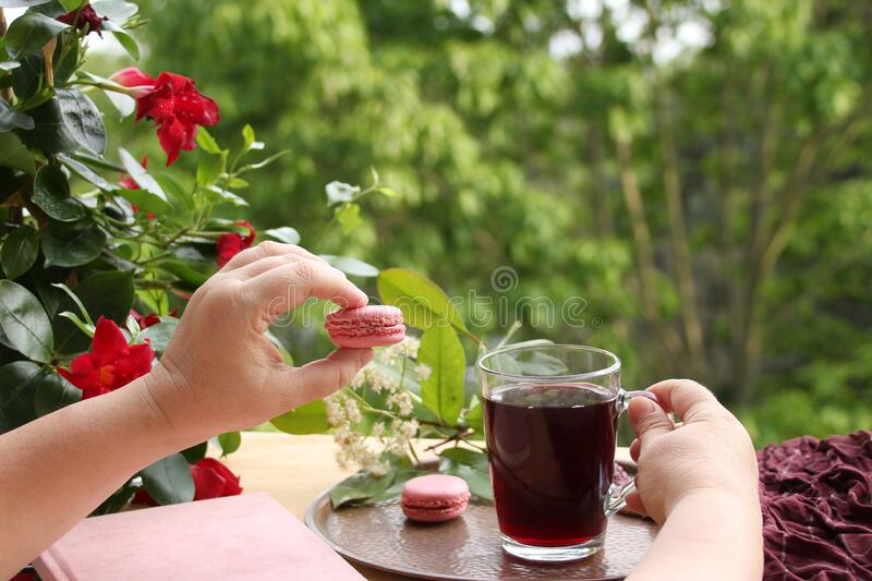 Female hands holding pomegranate, cherry juice, fruit drink in a glass mug and French pasta in the garden, flowers of climbing. Plant clematis, concept royalty free stock photo