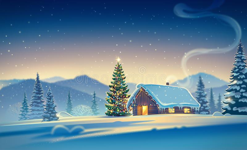 Forest landscape with house and christmas trees. Forest landscape with winter house and festive christmas trees. Raster illustration royalty free illustration