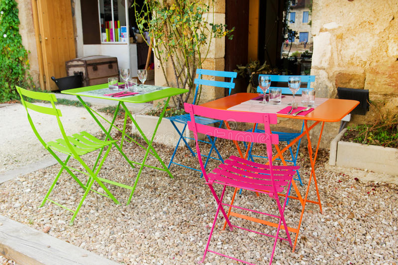 French terrace. Colorful French terrace from restaurant outdoor stock image