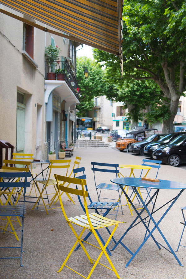French village. With terrace in the drome Provencale royalty free stock photography