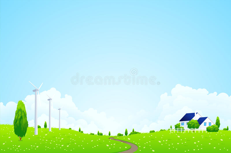 Green Landscape with house. Clouds flowers and wind power station royalty free illustration