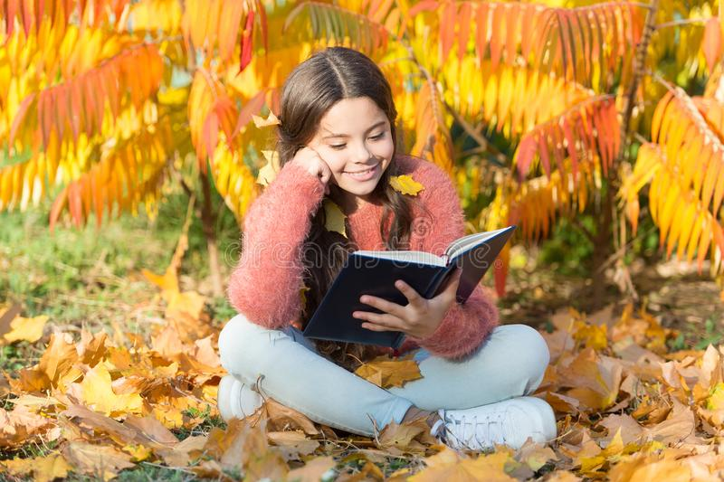Hobby and interests. Child enjoy reading. Schoolgirl study. Study every day. Girl read book autumn day. Little child. Enjoy learning at backyard or park. Kid stock image