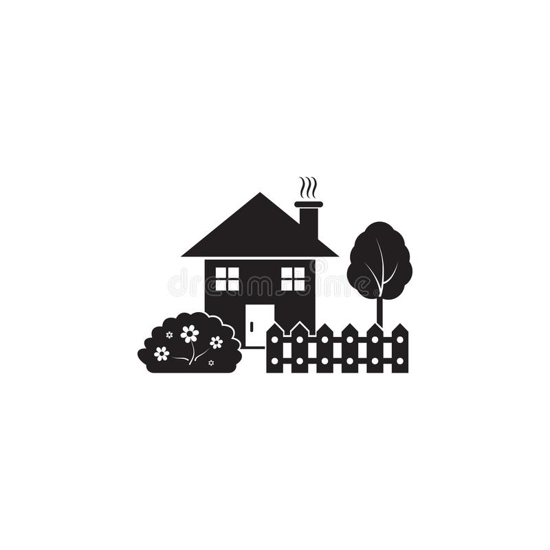 House with garden icon. Element of landscape illustration. Premium quality graphic design icon. Signs and symbols collection icon. For websites, web design royalty free illustration
