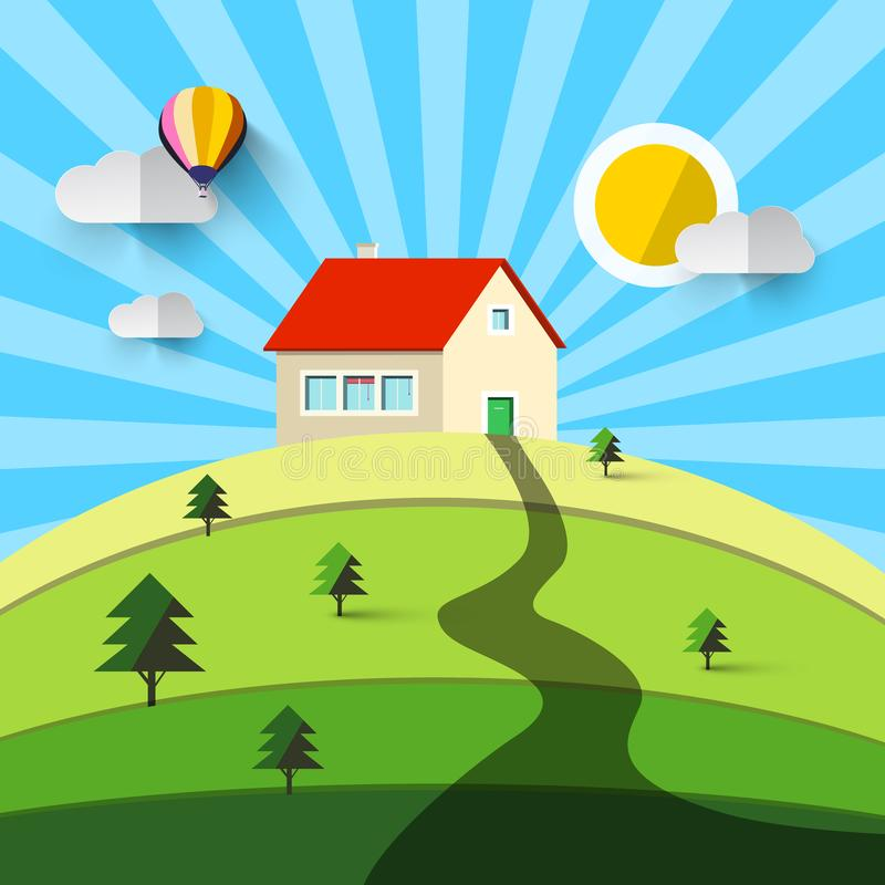 House on Hill. Vector Flat Design Natural Landscape. Countryside royalty free illustration