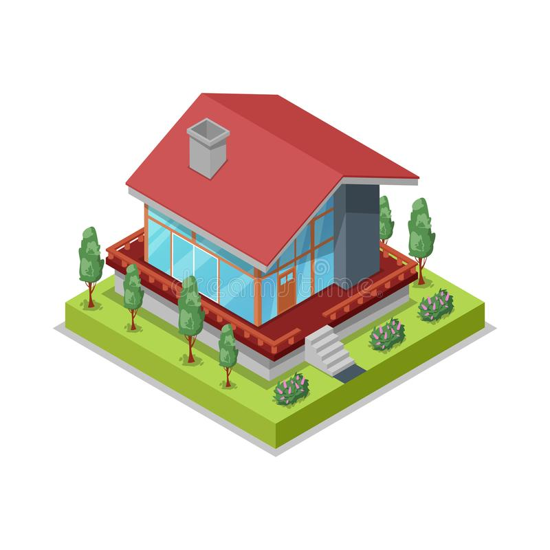House landscape design isometric 3D icon. Construction stages of countryside house, low poly model of rural real estate building vector illustration royalty free illustration