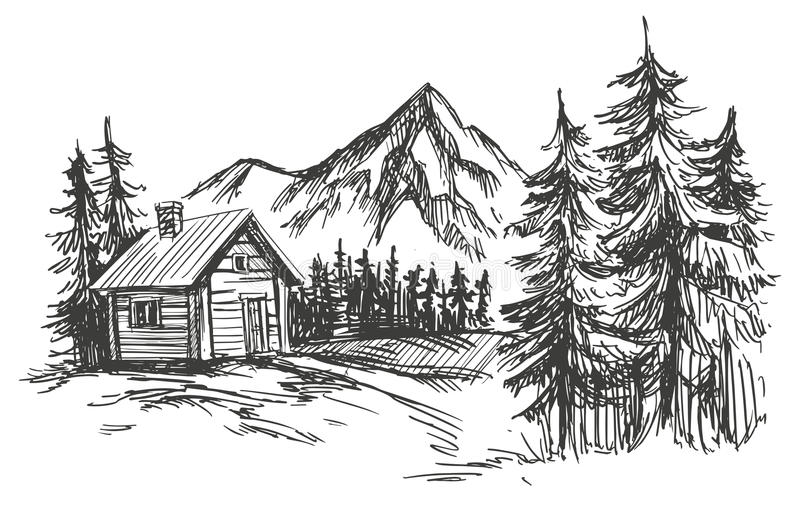 House in mountain landscape hand drawn vector illustration sketch. House in mountain landscape hand drawn vector illustration realistic sketch stock illustration