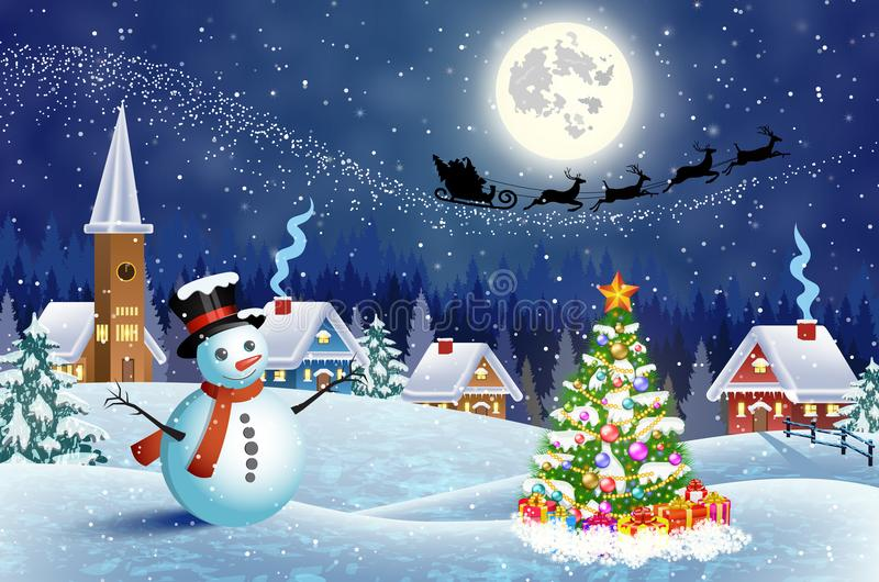 House in snowy Christmas landscape at night. A house in a snowy Christmas landscape at night. christmas tree and snowman. background with moon and the silhouette vector illustration