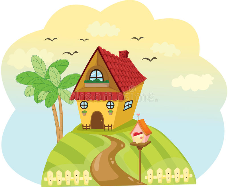 Landscape cute house of top of the hill. Illustration of landscape cute house of top of the hill vector illustration