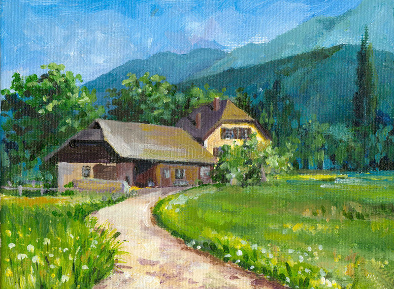 Landscape with house. Landscape with road,stable and house in spring.This picture I have painted by myself with oil colors royalty free illustration