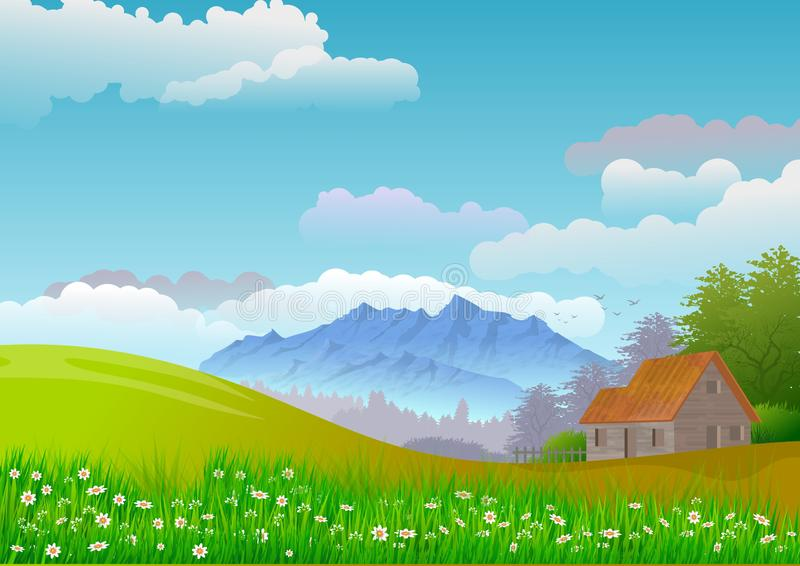 Landscape with sky with clouds, mountains, trees and a small country house. Illustration. Digital art. Wallpaper or background vector illustration