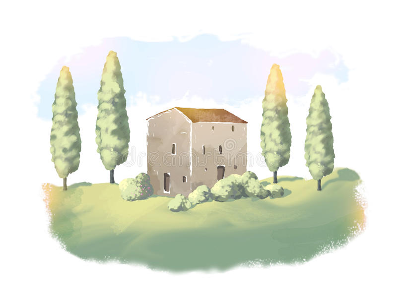 Landscape with traditional house in Tuscany, Italy, painted illustration, artistic work. royalty free illustration
