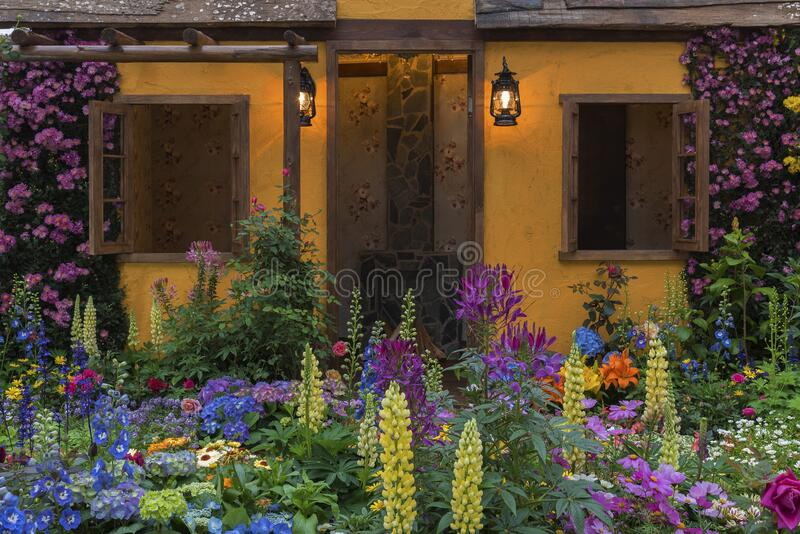 Landscaped backyard flower garden. Landscaped backyard of house with flower garden stock images