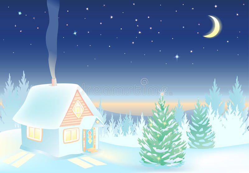 Night Winter landscape with house and forest. Winter landscape with house and forest. Night sky with the moon and stars. Hut with lighted windows. Background vector illustration