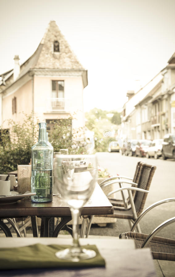 Resaturant terrace. Restaurant terrace of a little French village royalty free stock images