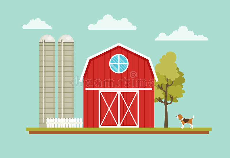 Rural landscape with a barn house. Dog, tree and farm towers stock illustration