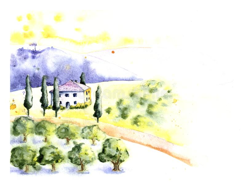 Rural Provencal farm, village with olive garden and vineyard. Country house, manor on a hilly, mountain landscape. Hand. Drawn watercolor illustration stock illustration