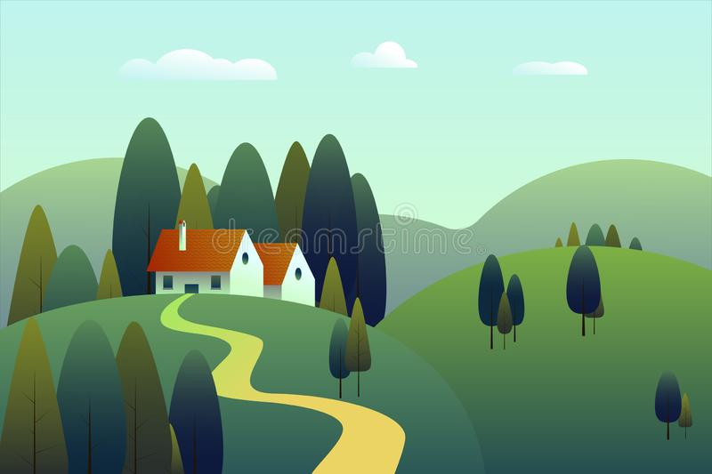 Summer landscape with green field, wooden house in a forest and mountains on a blue sky. Vector vector illustration