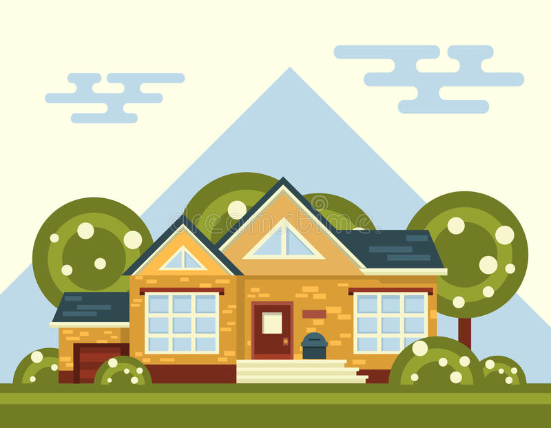 Summer Vector Landscape With House and Tree in. Summer vector landscape with house and tree vector illustration