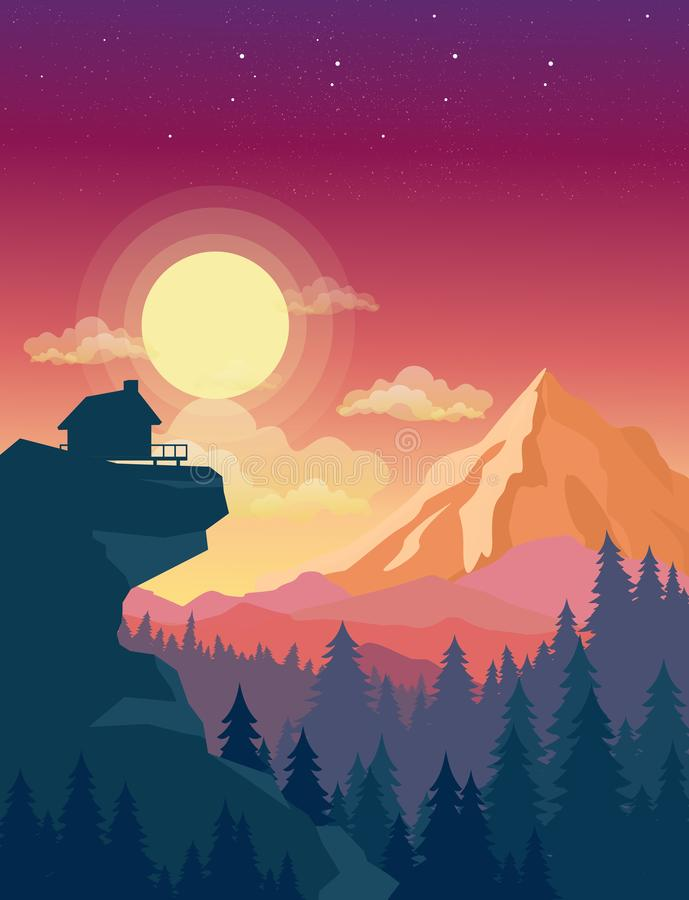 Vector illustration of house on top of mountain with beautiful sunset in mountains landscape on background, sun and. Clouds in sky in flat style royalty free illustration