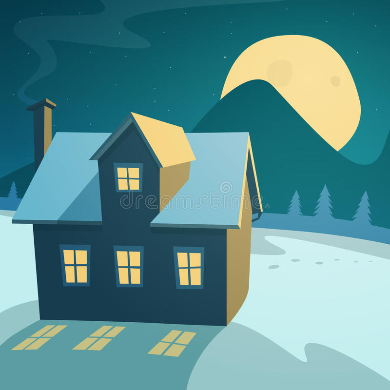 Winter Landscape with House. Cartoon illustration of the winter landscape with house in the night vector illustration