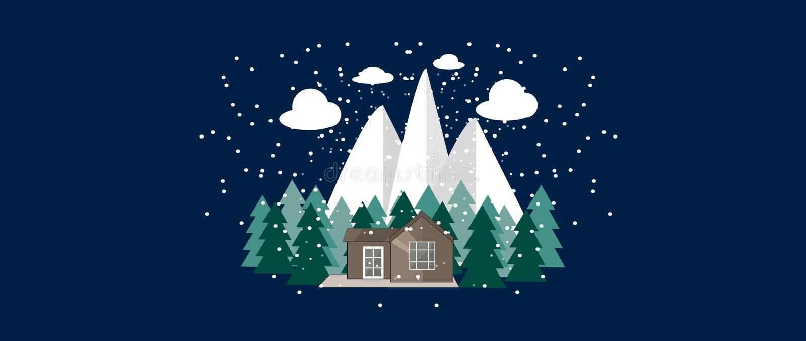 Winter nature landscape with Cute little house, fir trees. Mountains and snowflakes. Winter Background.Vector illustration royalty free illustration
