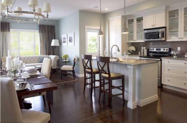 Дизайн кухни, совмещенной с гостиной: фото современных интерьеров | 395x600